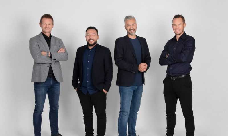 Some of Min By Media's owners. From the left: Mads Peter Veiby, Jes Lennert, Michael Qureshi, and Thomas Enevoldsen
